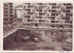 Roma Sparita - Via di Santa Maria Goretti, incorcio con via Tigrè, sbanco per la costruzione della scuola. Autunno 1966