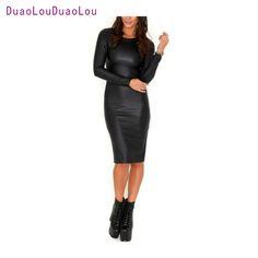 Sexy Women PU Dress Leather Look Long Sleeve O Neck Midi Party Dress Clubwear Black #Affiliate