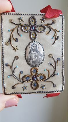 Antique Spanish Embroidered  Coeur de Jesus Sacred Heart Scapular IHS Ex Voted Catholic Gift Religious Gift Catholic Art Religious Art