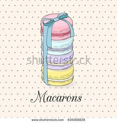 Present set of colored different flavor macarons tied up with a ribbon. Hand drawn vector illustration on the vintage style light polka dotted background.