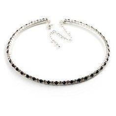 Thin Swarovski Crystal Choker Necklace (Clear & Black)  http://electmejewellery.com/jewelry/necklaces/chokers/thin-swarovski-crystal-choker-necklace-clear-black-com/