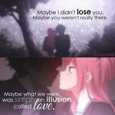 Traduction FR : Peut-être que je ne t'ai pas perdu. Peut-être que tu n'étais pas vraiment là. Peut-être que ce que nous étions, était une illusion appelé l'amour.