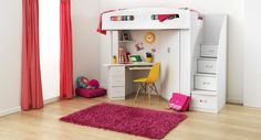Planning to build a loft bed for kids in the nursery? Get creatively inspired with these delightful kids loft beds ideas in our gallery! Kids Beds For Sale, Bunk Beds For Sale, Bunk Beds For Girls Room, Bunk Bed With Desk, Cool Bunk Beds, Bunk Beds With Stairs, Kid Beds, Loft Beds, Girls Bedroom