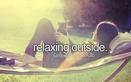 relaxing outside.