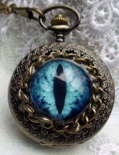 Eye pocket watch steampunk dragon eye by Charsfavoritethings