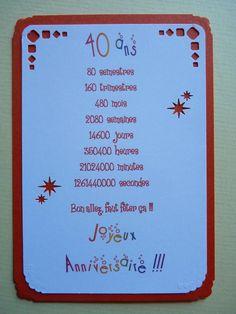 Carte Anniversaire 40 Ans Projet Anniversaire Pinterest