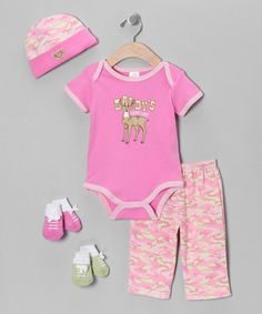Take a look at this Pink 'Daddy's Little Deer' Five-Piece Layette Set by Baby Essentials on #zulily today!