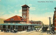Waco Texas TX 1909 Two Trains Union Station Collectible Antique Vintage Postcard