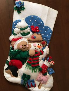 Bucilla Felt Stocking - Teddy Bear and Snowman Cute Christmas Stockings, Christmas Stocking Kits, Felt Stocking, Stocking Tree, Christmas Wreaths, Christmas Ornaments, Xmas Tree Decorations, Felt Toys, Felt Ornaments