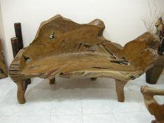 Teak Wood Bench, Teak Wood Root Table, Teak Wood furniture made from reclaimed Indonesian Teak Wood.