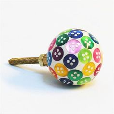 Multicoloured Button Furniture Knobs, Set of 6