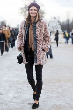 Shaggy coat + layers