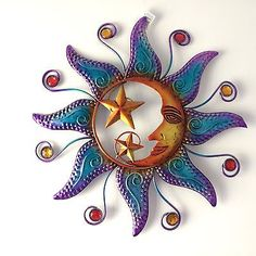 NEW LARGE METAL WALL ART MULTI COLOUR SUN AND MOON HANGING DECORATION GARDEN | Wall  sc 1 st  Pinterest & Celestial Sun and Moon Wall Hanging Decor | Pinterest | Wall hanging ...