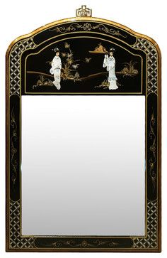 Black Lacquer Mother of Pearl Mirror asian-mirrors $239