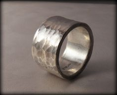 Huge Sterling Silver hammered wedding band Heavy by VictorianMoon, $215.00