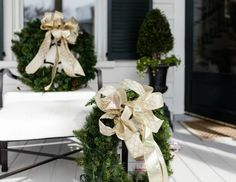 Embellish your wreath with two different patterns of metallic ribbon for added texture and visual interest.