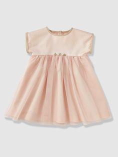 476ebb5b0df21 Robe de cérémonie bébé fille en satin et tulle blanc - Vertbaudet