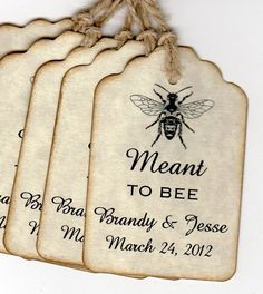 50 Personalized Vintage Wedding Favor Tags Wedding by luvs2create2 - super cute, I love bees!  and really affordable. classickeepsake