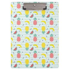 Tropical Fruit Geometric Pattern Clipboard - stripes gifts cyo unique style