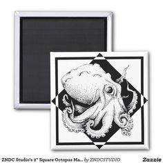 "ZNDC Studio's 2"" Square Octopus Magnet"