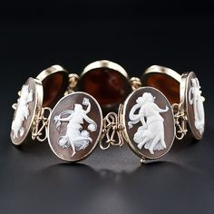 """""""Seven Muses"""" Hand Carved Shell Cameo Bracelet Mounted In 14k Gold  c.1920's-1930's"""
