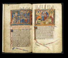 The Abingdon Apocalypse - folio 5v - 6r  Origin, England dated to 1275, possibly from Abingdon Abbey.  Images from The British Library Manuscript Website  http://www.bl.uk/manuscripts/FullDisplay.aspx?ref=Add_MS_42555