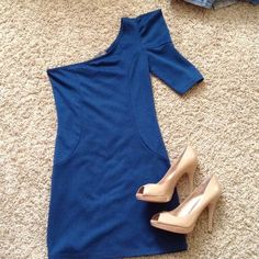 F21 one shoulder blue dress Worn 2x. In great condition. Forever 21 Dresses