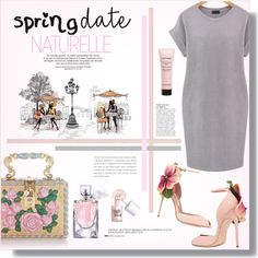Spring Date ~ Pretty Plus Size by alexandrazeres on Polyvore featuring moda, Brian Atwood, Dolce&Gabbana, Givenchy, Lancôme, Benefit, Anja, Pink, romantic and gray