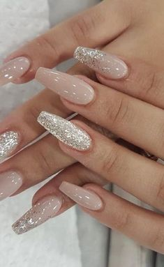 24 Cute and Awesome Acrylic Nails Design Ideas for 2019 - Page 2 of 24 - Nageldesign - Nail Art - Nagellack - Nail Polish - Nailart - Nails - Beauty Coffin Nails Matte, Best Acrylic Nails, Gel Nails, Acrylic Nails Glitter, Acrylic Nails For Summer Coffin, White Nails With Glitter, Pink Sparkle Nails, Nude Nails With Glitter, Classy Acrylic Nails