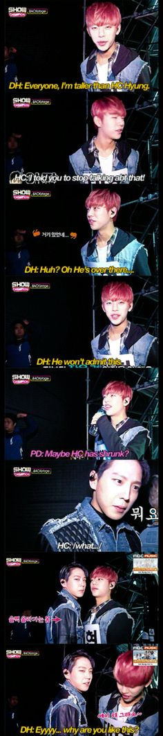 Daehyun and Himchan arguing over heights....because they're responsible adults...