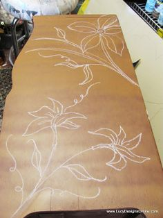 """carved-designs-on-furniture www.LucyDesignsOnline.com,or on Pinterest.  Chalk,or crayon design first ,then use Dremel tool. After you are done ,use a stain ,or gilding wax-""""Wipe On,Wipe Off"""" method."""