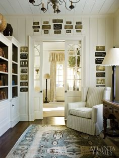Georgia cottage library designed by Jackye Lanham. Atlanta Homes & Lifestyles. Doors between dining & family room? Style At Home, Home Interior Design, Interior And Exterior, Exterior Doors, Rustic Exterior, Wall Exterior, Modern Exterior, Casas En Atlanta, Plank Walls