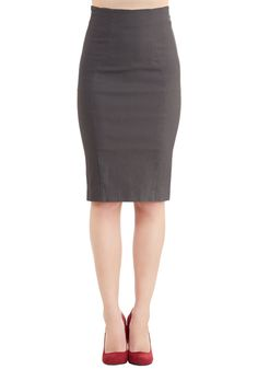 I'll Have the Usual Skirt in Charcoal - Grey, Solid, Work, 50s, Pencil, High Waist, Woven, Good, Grey, Mid-length, Vintage Inspired, Variation