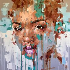 Just completed oil on canvas. Abstract Portrait, Portrait Art, Portraits, Art And Illustration, Jimmy Law, Black Artwork, Contemporary Paintings, Figurative Art, Creative Art