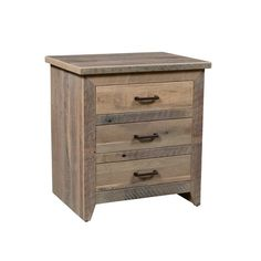 Reclaimed Barnwood Midland 3-Drawer Night Stand Rustic farmhouse chic for bedroom. Built with authentic barnwood. Choice of finish and hardware. #barnwoodfurniture #nightstands #rusticbedroom