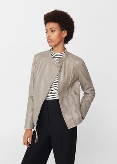 Zip leather jacket -  Women | MANGO USA