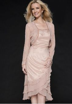 Satin and Chiffon A-Line Tea-Length Mother Of The Bride Dress with Matching Jacket - Mother of the bride - WHITEAZALEA.com