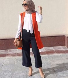 orange vest casual hijab- Cute hijab for teens http://www.justtrendygirls.com/cute-hijab-for-teens/