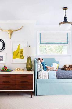 kid's room, boy's room, roman shade, roman shade trim, tape, blue upholstered bed
