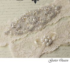 Custom Crystal, Pearl and Lace Wedding Garter