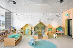 Children's reading area at Aldinga Library, South Australia. Designed by Brown Falconer Daycare Design, Classroom Design, School Design, Kindergarten Interior, Kindergarten Design, Kids Cafe, Library Design, Learning Spaces, Kid Spaces