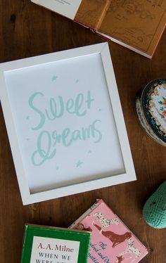 """Free printable 'Sweet Dreams"""" art print {by Jamie from A Pair of Pears}"""