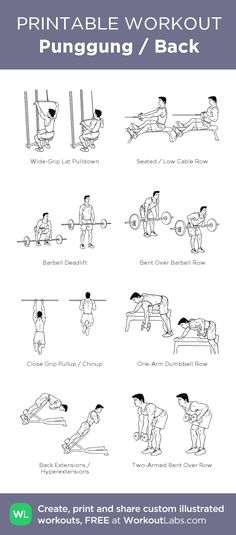 Punggung / Back – my custom workout created at WorkoutLabs.com • Click through to download as printable PDF! #customworkout