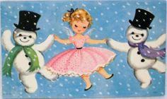 #619 50s Marjorie Cooper Pretty Angel & Dancing Snowmen-Vtg Christmas Card