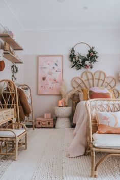 Boho girl's room ft Olli Ella Toaty Trunk, Source by girl room Decor Room, Bedroom Decor, Bedroom Ideas, Bedroom Inspo, Boho Room, Little Girl Rooms, How To Make Bed, My New Room, Girls Bedroom