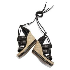 Alexander McQueen Studded Espadrille Wedge Sandal ❤ liked on Polyvore featuring shoes, sandals, wedges shoes, alexander mcqueen shoes, studded wedge shoes, studded shoes and wedge heel shoes