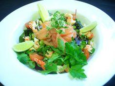 Smoked salmon and crayfish tail salad