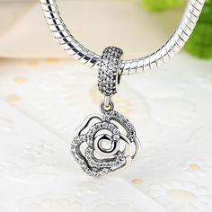 519f883e5 Rosa - Pendant Sterling Silver Flowers, Silver Roses, Pandora Bracelets,  Silver Charms,