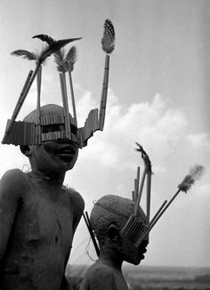 Africa | Children from the Wagogo tribe wear special headgear for the circumcision ceremony. Tanzania. 1947. | © George Rodger