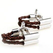 Brown Leather Wrap Around Cufflinks by Cuff-Daddy
